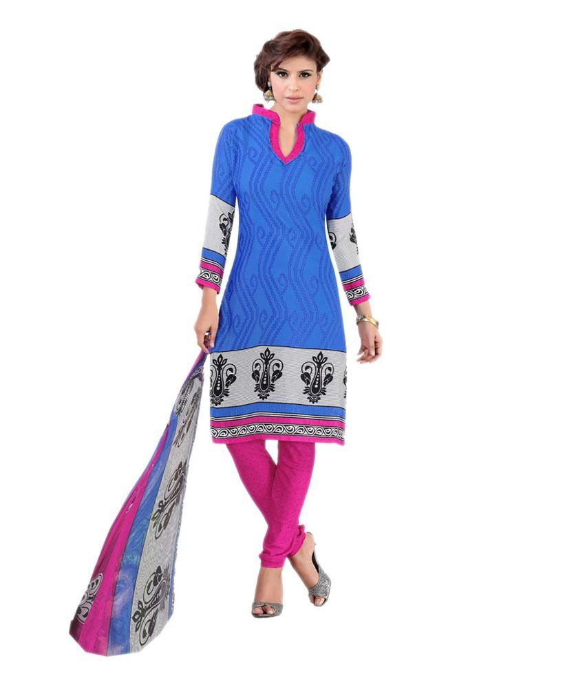 Dilwaa Blue Art Crepe Printed Regular Dress Material