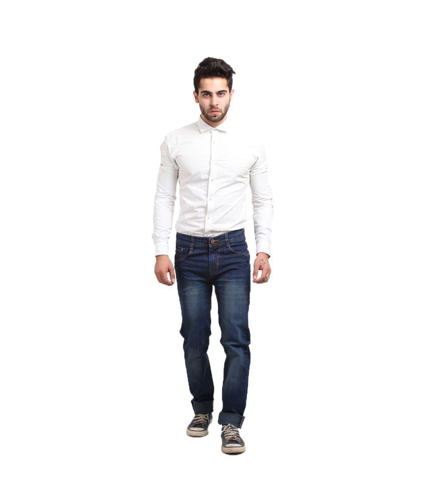 X-cross Blue Cotton Blend Faded Jeans