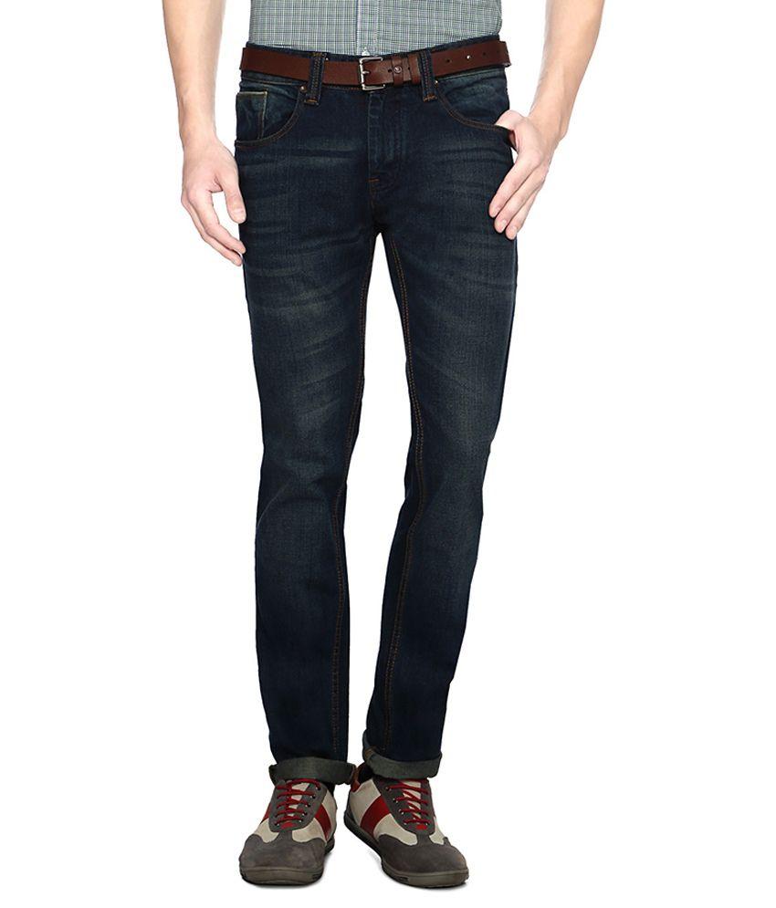 People Blue Cotton Blend Jeans