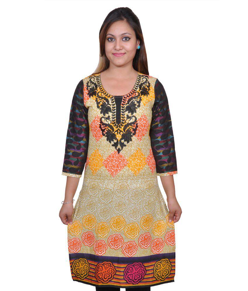Vasudha Orange and Red Embroidered Cotton 3/4 Sleeves Kurti
