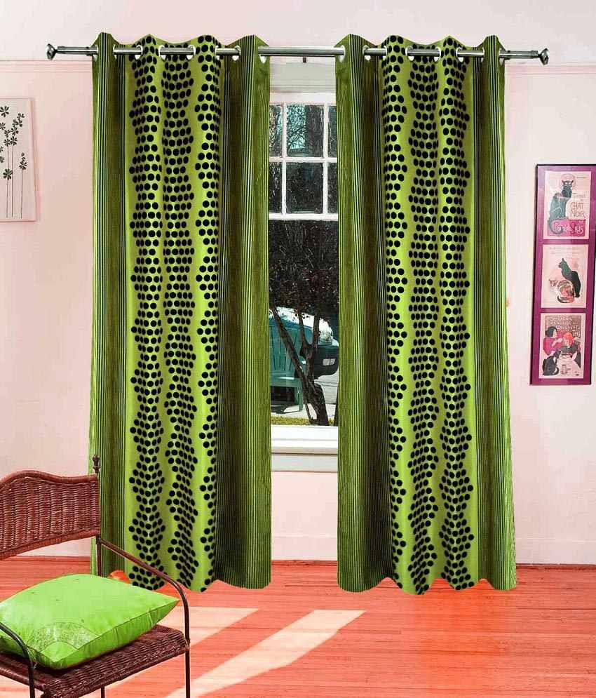 Homefab India Green Polyester Window Curtain Geometrical Green