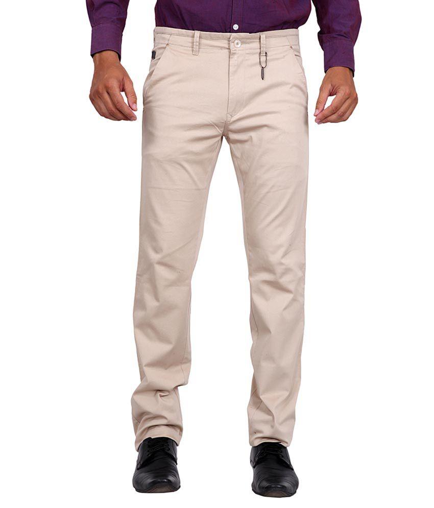 K-Nop Beige Cotton Lycra Casual Trouser