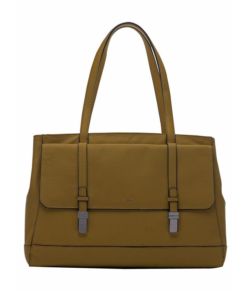 Le Tanneur Yellow Leather Shoulder Bag For Women