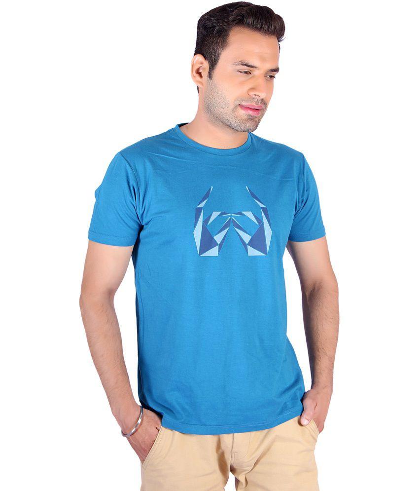 Swag Blue Cotton Printed T-shirt