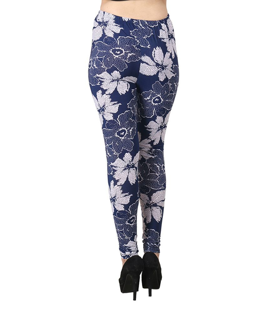 Addiction World Blue Viscose Flowers Print Leggings Price in India ...