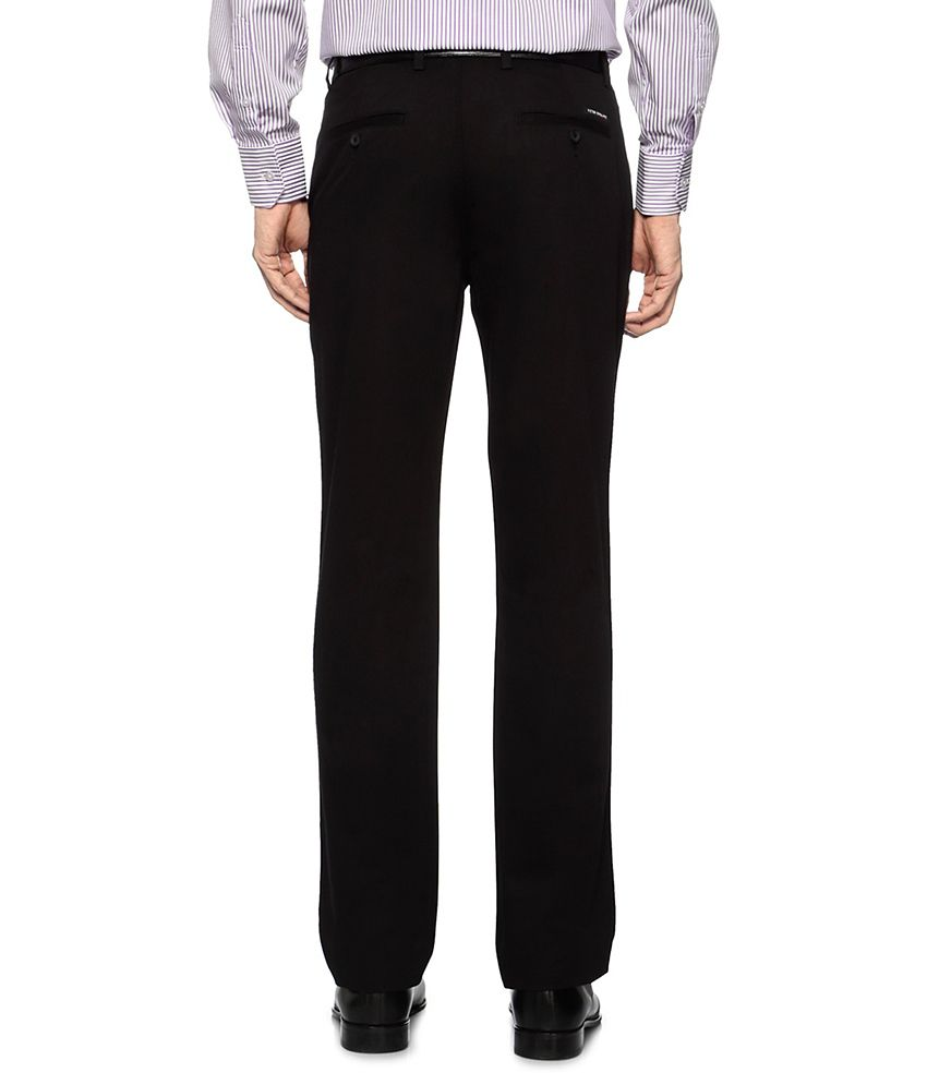 Peter England Black Solid Formal Trousers