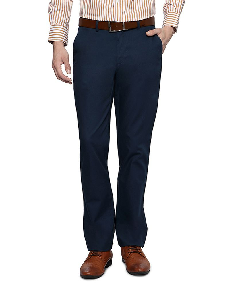 Peter England Blue Formal Trousers