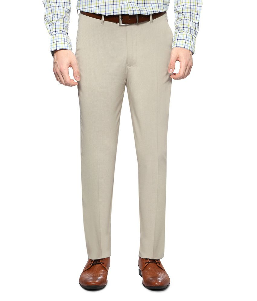 Peter England Cream Formal Slim Fit Trousers