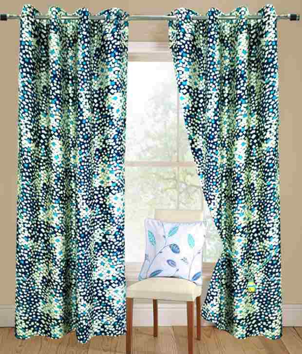 Homefab India Set of 2 Beautiful Long Door (9X4 ft) Curtains Geometrical