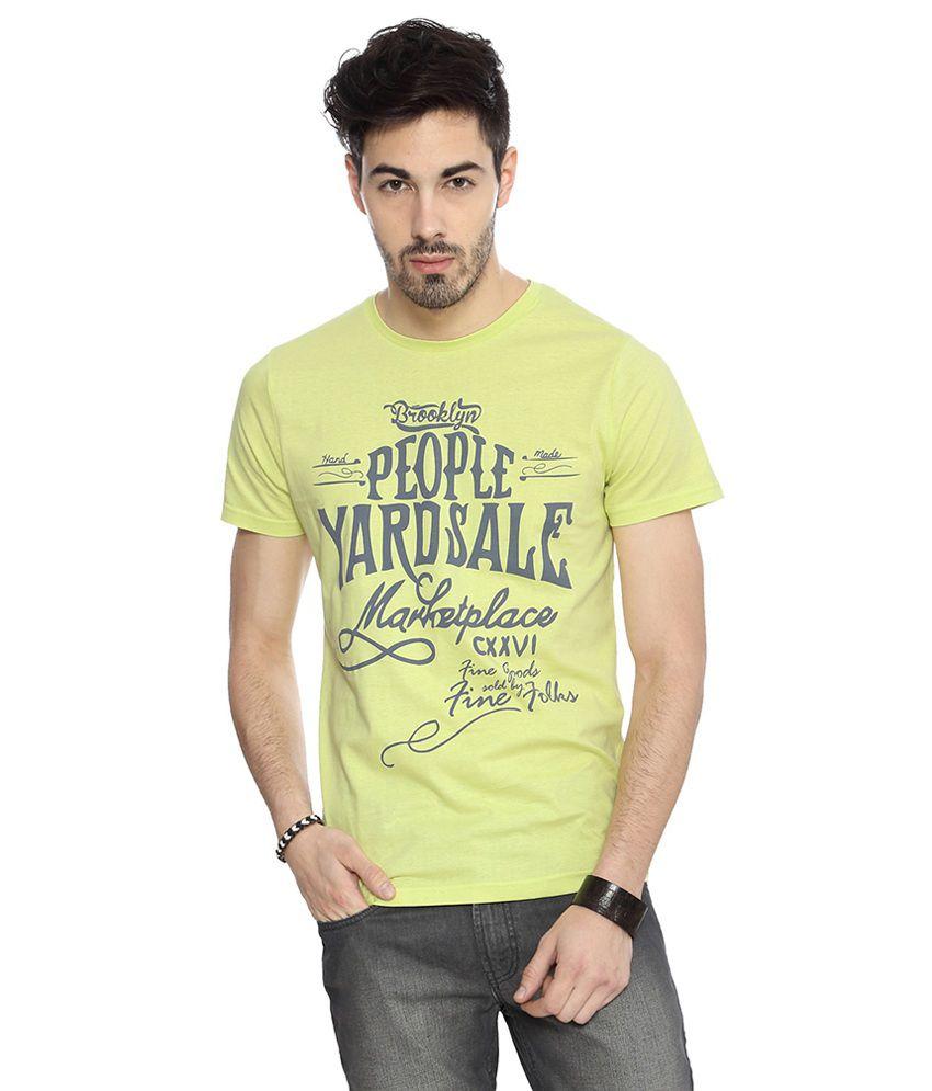 People Green Cotton Print Slim Fit Half Sleeves T-Shirts