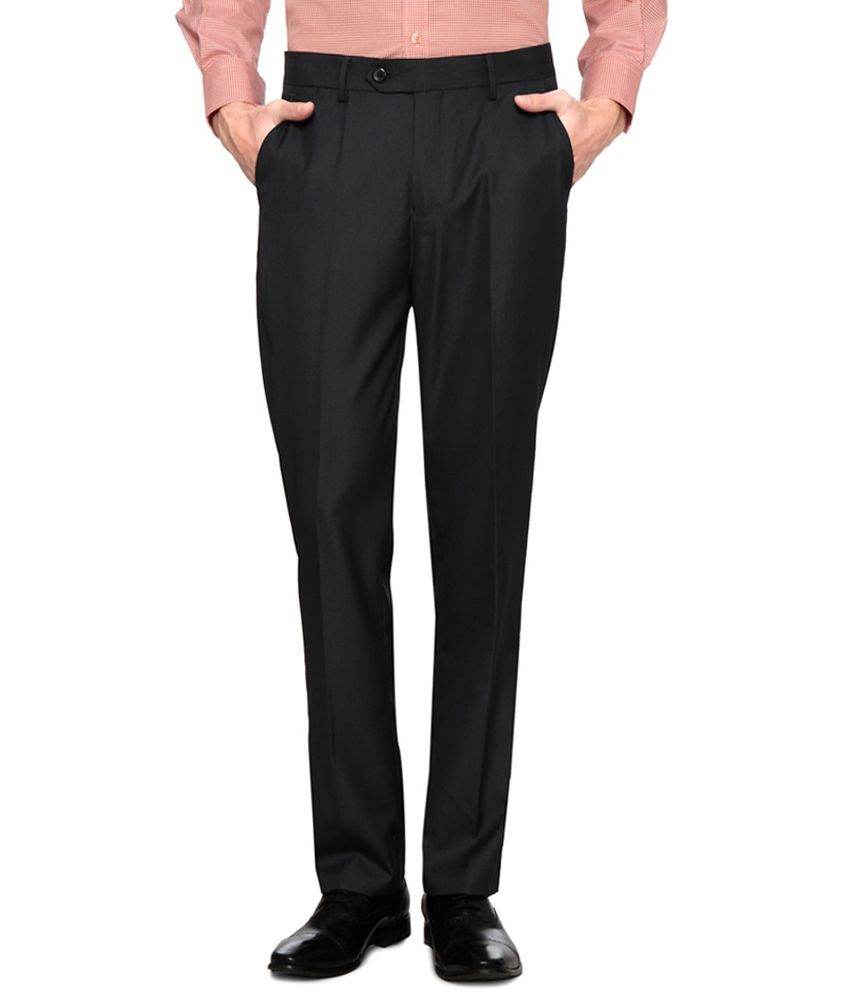 Peter England Black Colour Formals Trousers