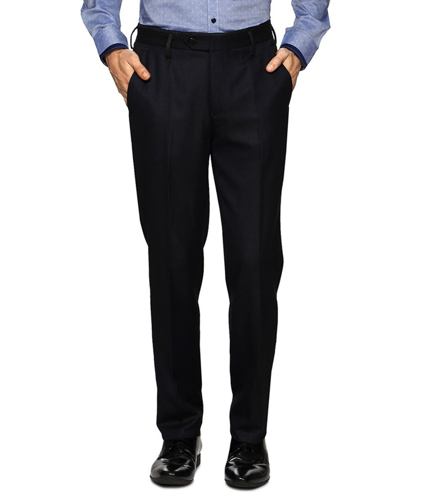 Peter England Blue Colour Formals Trousers