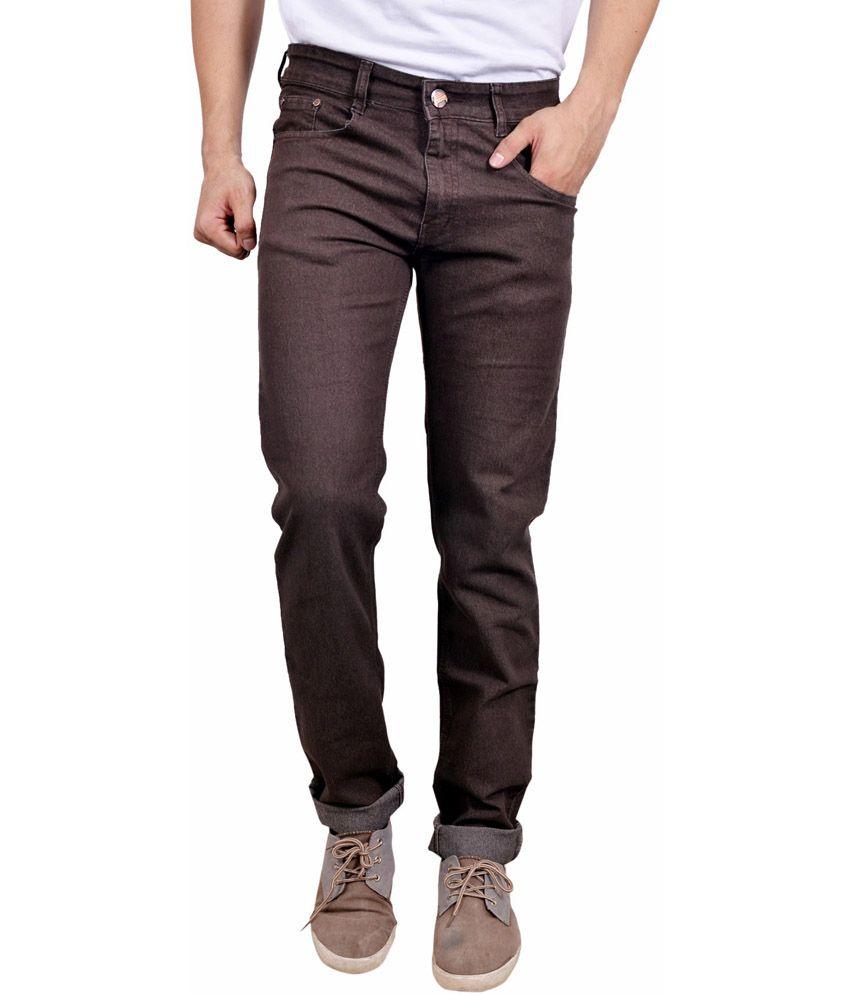Studio Nexx Brown Cotton Regular Fit Jeans