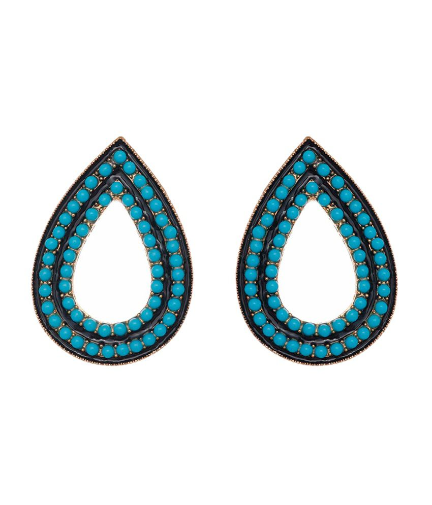 Aaishwarya Blue Paisley Clip Back Crystal Earrings