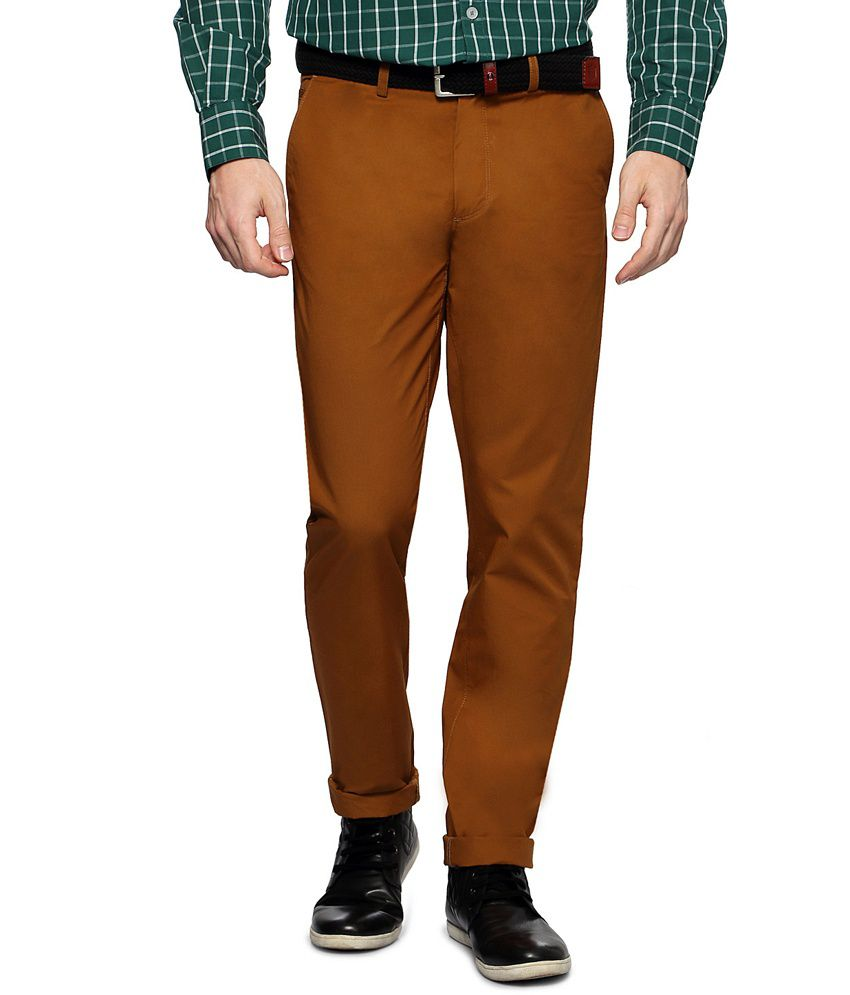 Allen Solly Brown Solid Flat Front Trousers