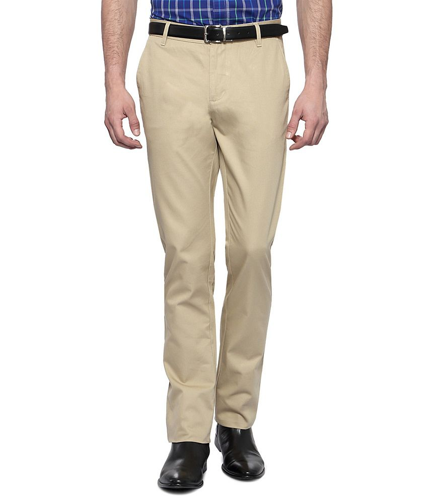 Allen Solly Cream Casual Custom Fit Flat Front Trousers