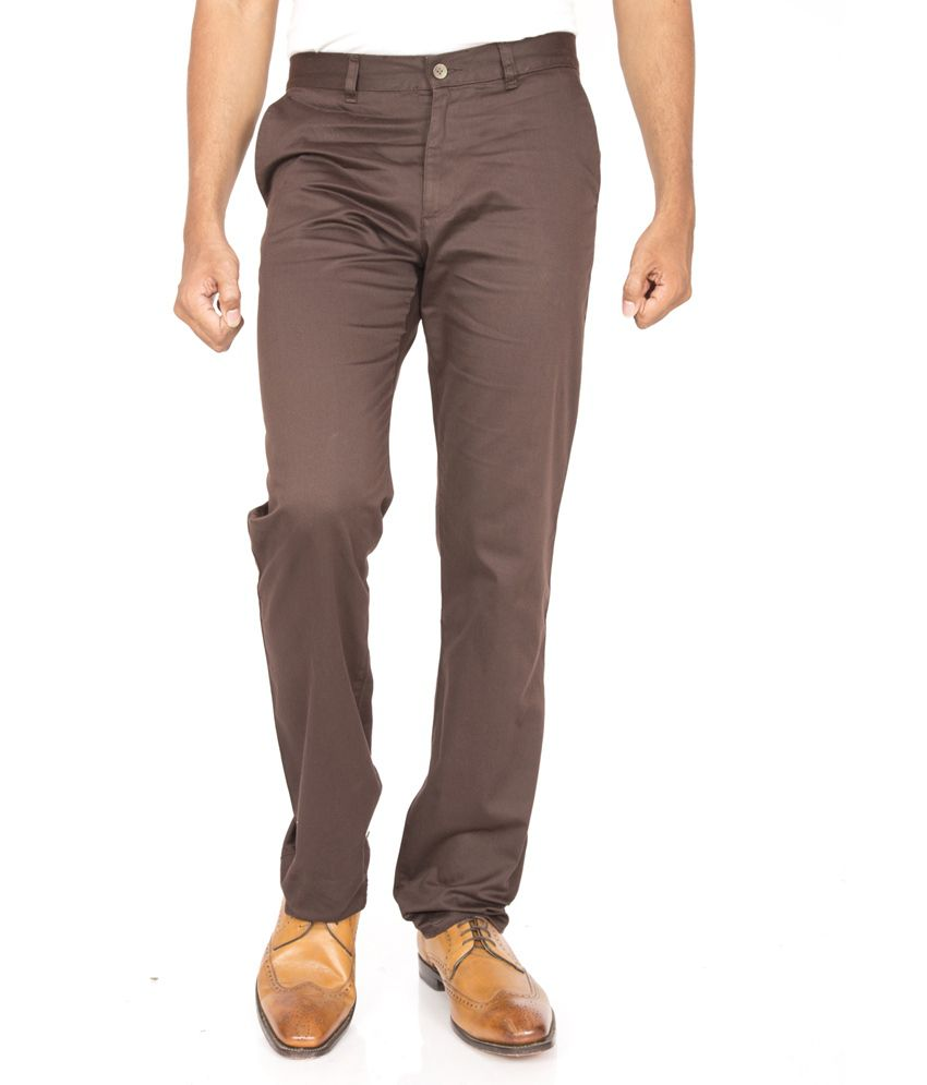 American Vintage Brown Cotton Casual Slim Fit Chinos