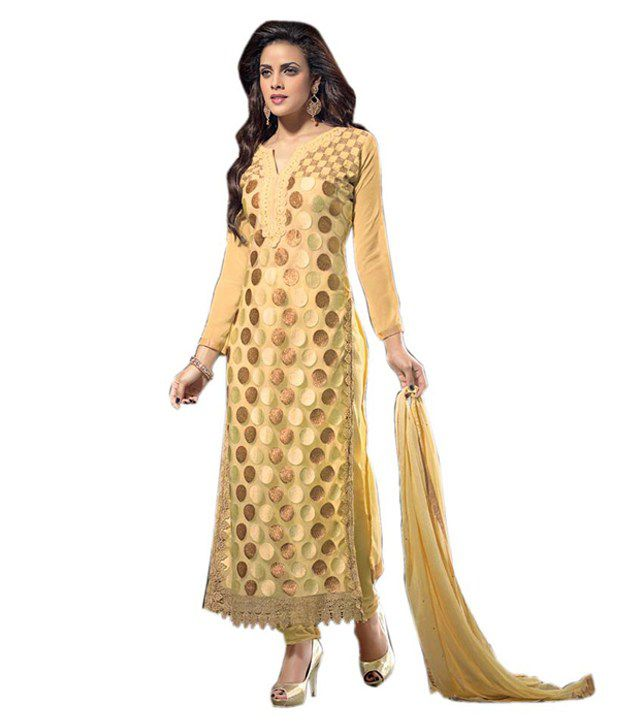 Kcfashion Beige Net Hand Embroidery Straight Fit Semi Stitched Suit