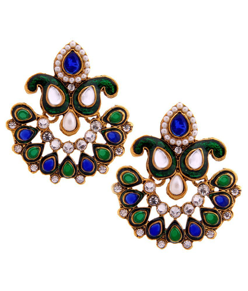 Tradisyon Bollywood Celebrity Inspired Queens Crown Polki Kundan Pearl Blue & Green Chandelier Earrings By Kaizer
