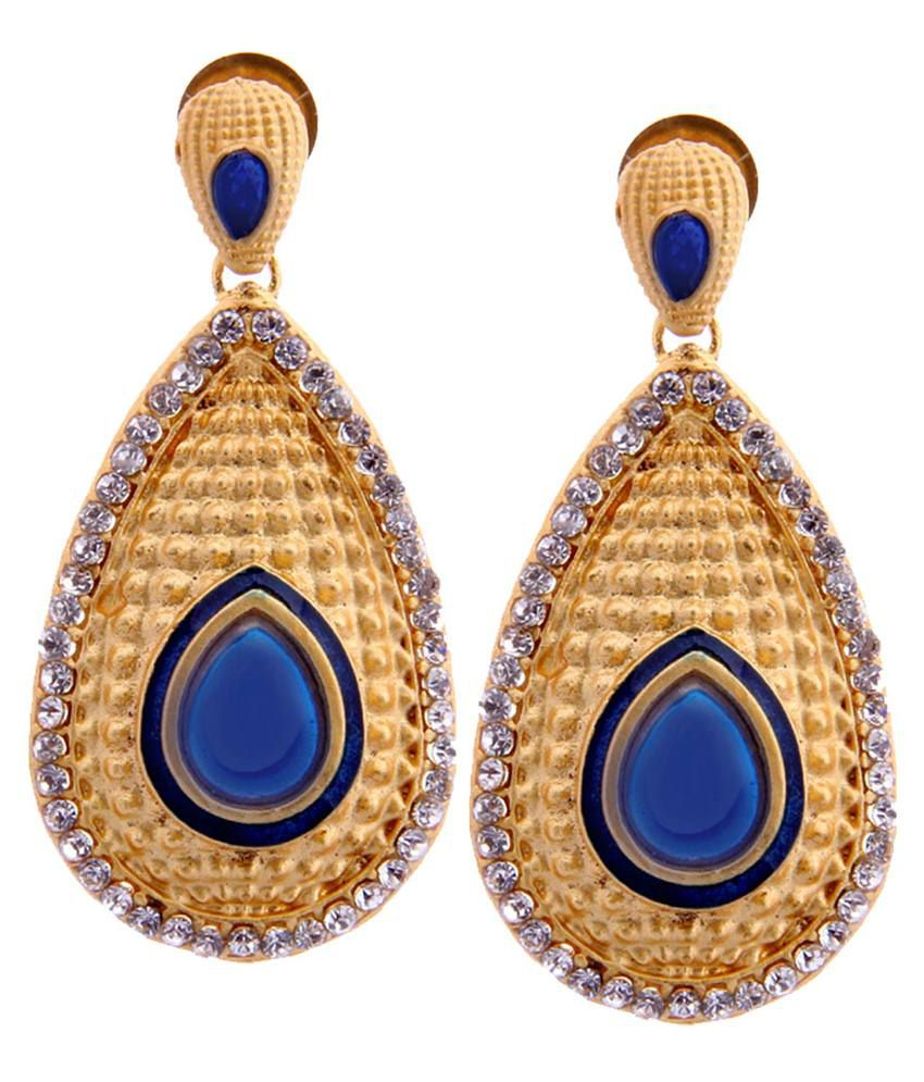 Tradisyon Bollywood Celebrity Inspired Valiant Blue Chandelier Earrings By Kaizer