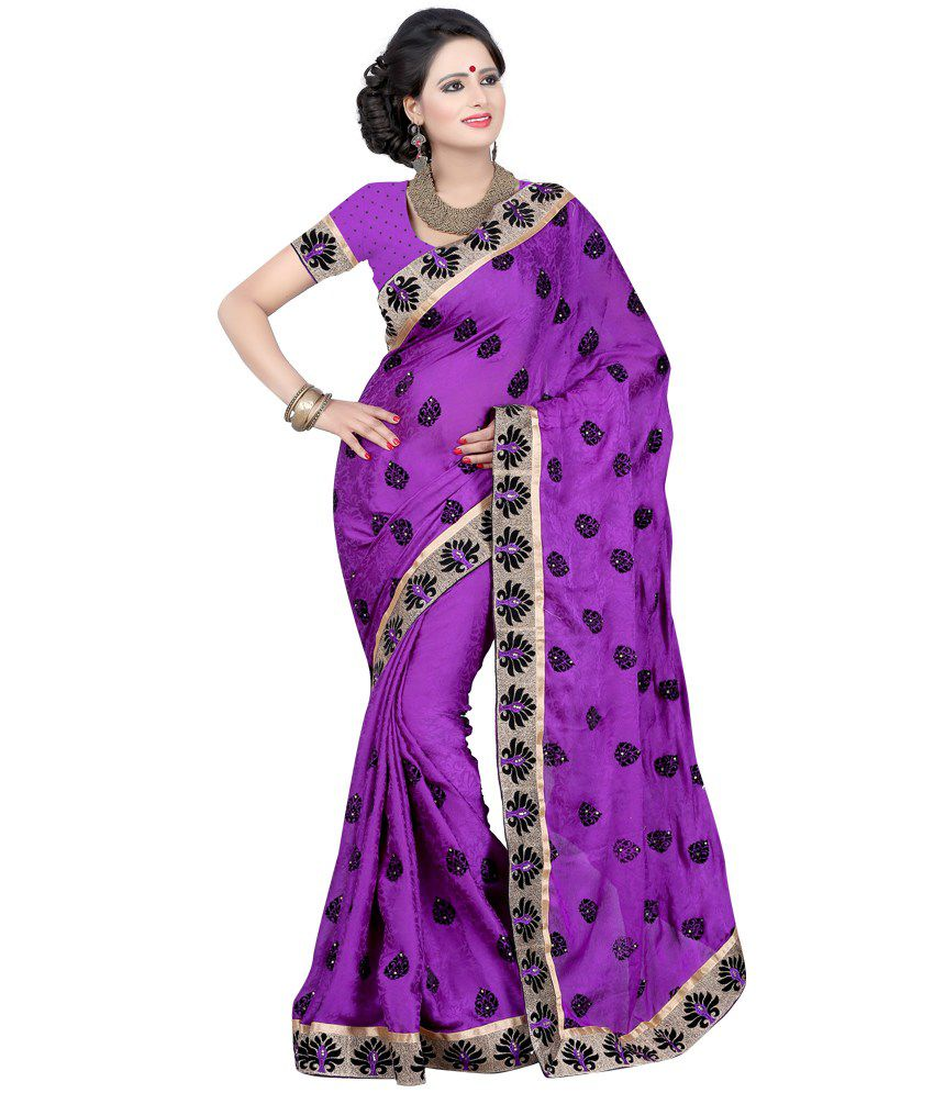 A 1 Creation Splendid Purple Silk Embroidered Saree With Blouse Piece