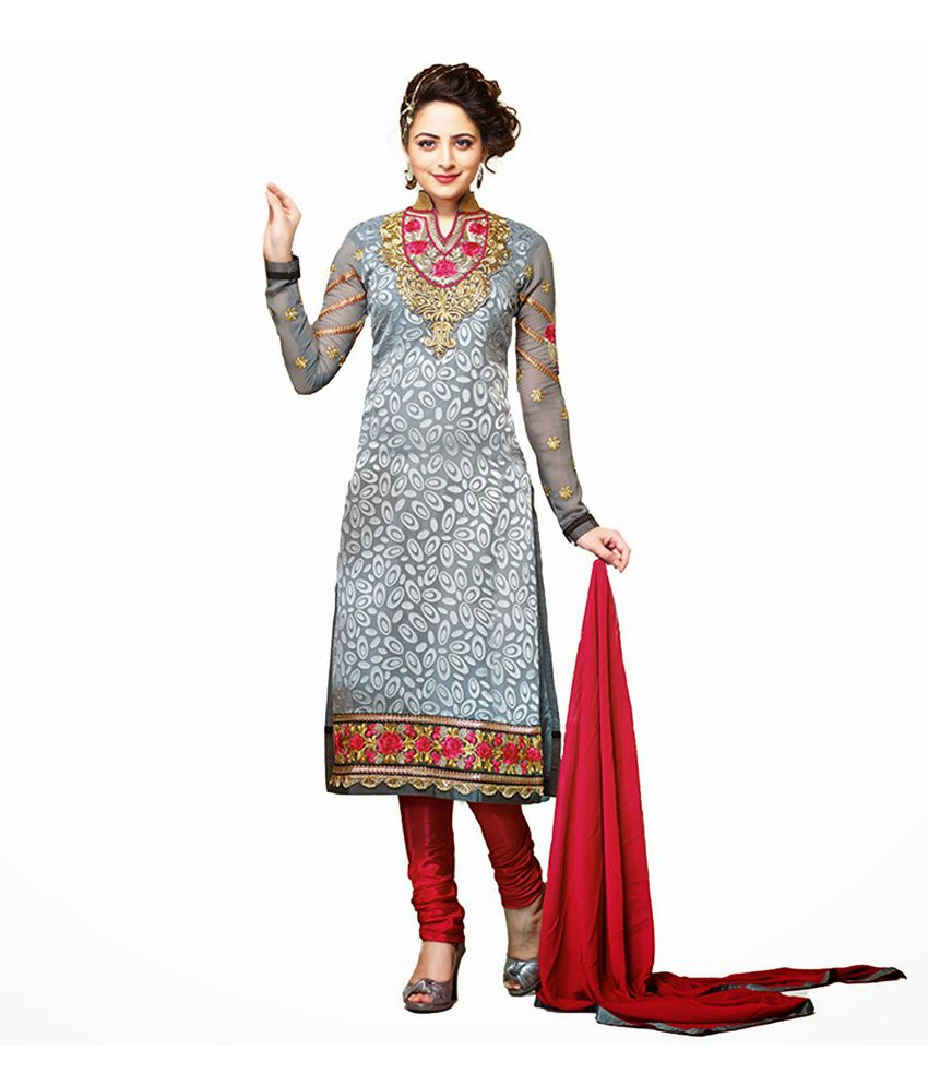 Adhya Fashion Gray Faux Georgette Embroidered Semi-Stitched Semi Stitched Suit