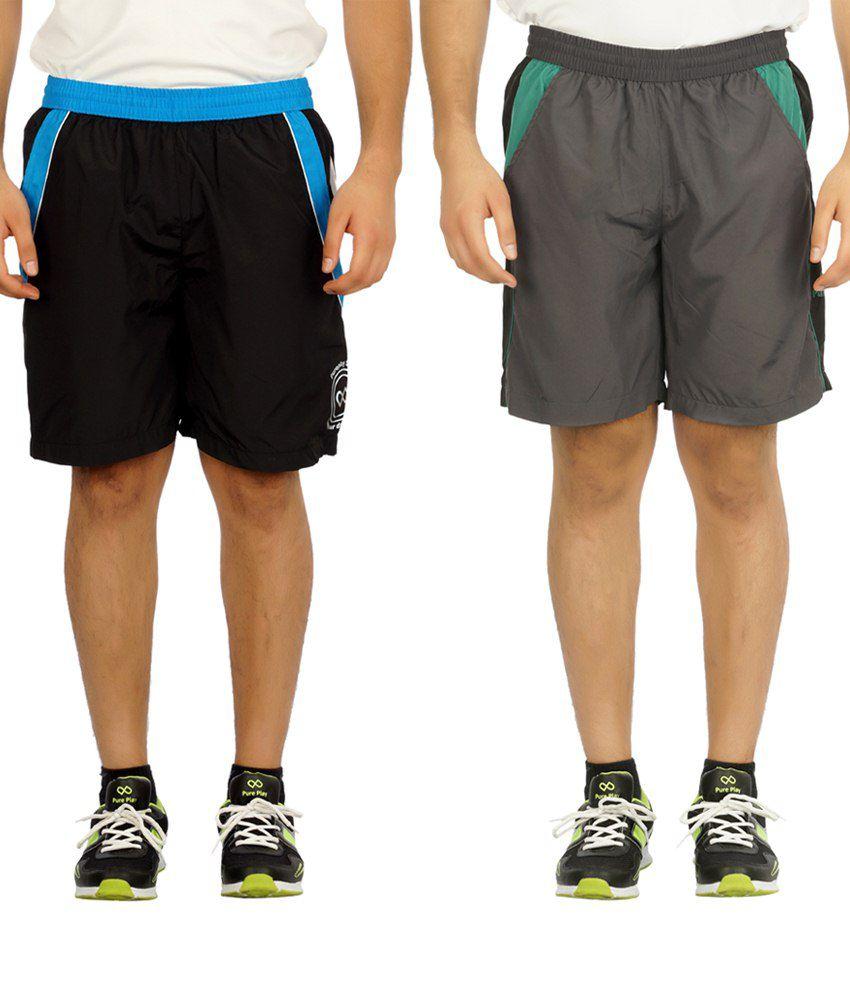 Pure Play Trendy Pack Of 2 Dark Gray & Black Running Shorts