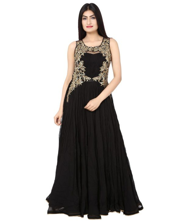 5ad4b81e3d Saheli Black Georgette Partywear Long Gown - Buy Saheli Black Georgette Partywear  Long Gown Online at Best Prices in India on Snapdeal