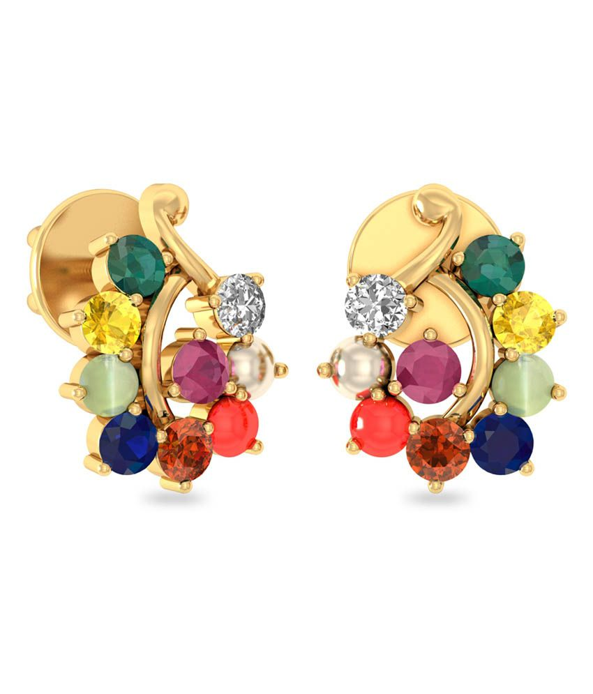 WearYourShine PC Jeweller 18KT Gold The Safna Diamond & Gemstone Earrings