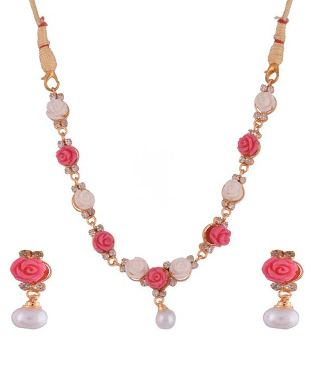 Ganapathy Gems Statement Pink Contemporary Necklace Set