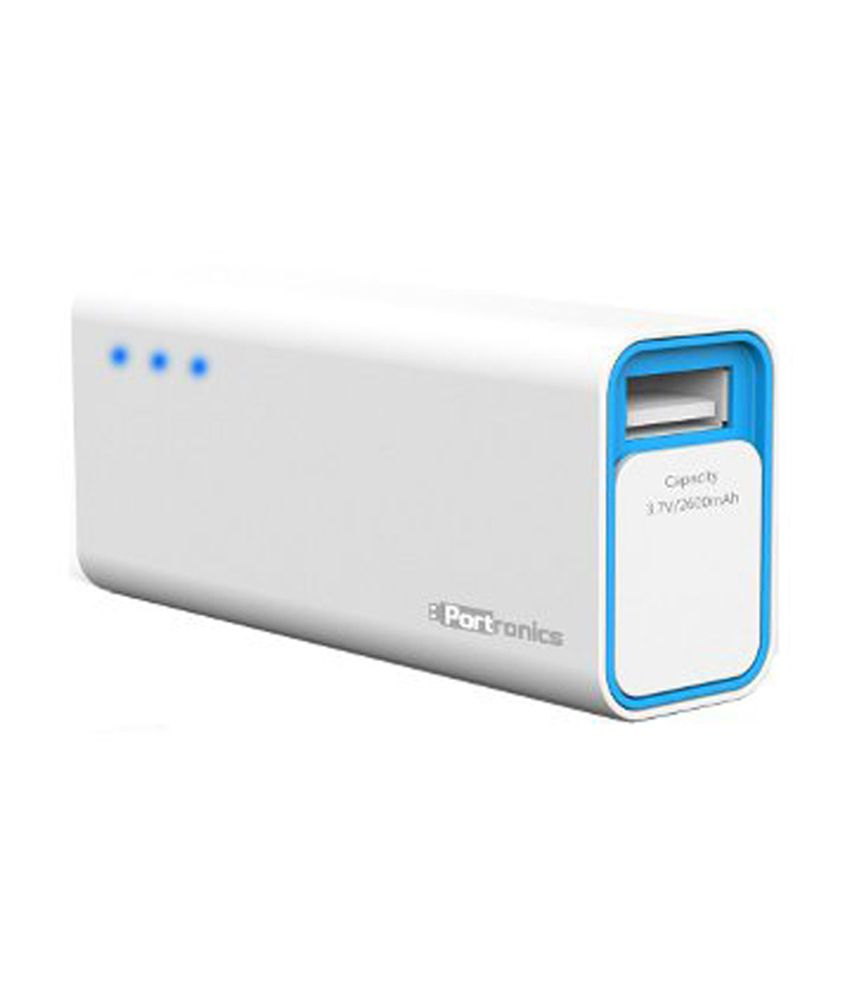 Portronics Charge Mini POR 355 2600 mAh Power Bank   White and Blue