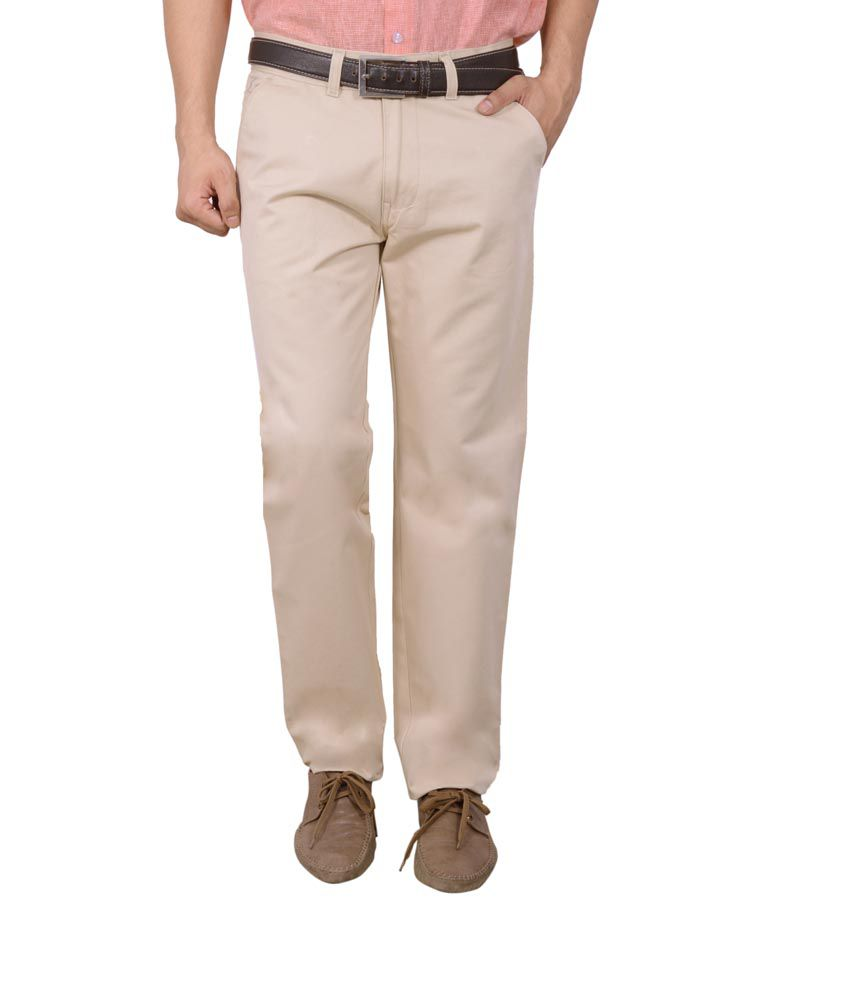 Studio Nexx Beige Cotton Regular Fit Casual Chinos Trouser