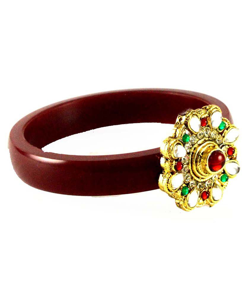 Vidhya Kangan Maroon Brass Crystal Studded Bangle
