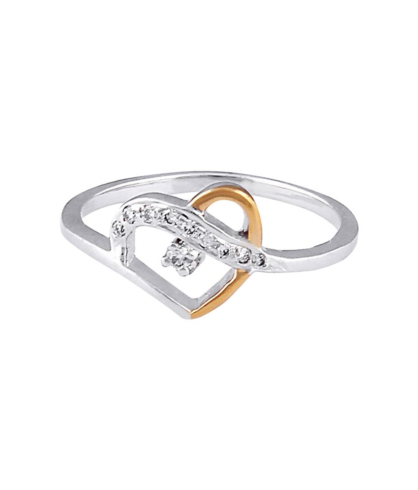 Arham Jewels Hearts Silver Diamond Ring