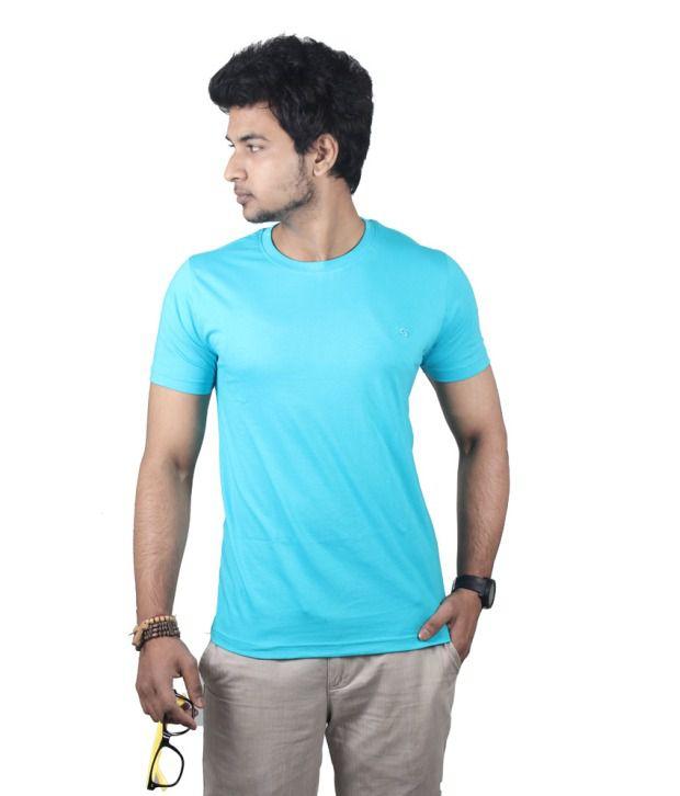 Close Knit Blue Half Sleeves Round Neck T-shirt