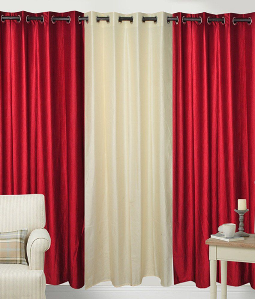 Fresh From Loom Set of 3 Door Eyelet Curtains Solid Multi Color