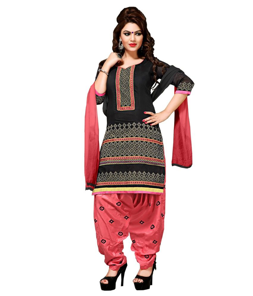 Radhe Creation Black Chanderi Suit Dress Material