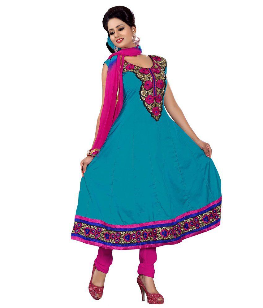 Radhecreation Blue Cotton Embroidered Anarkali Suit