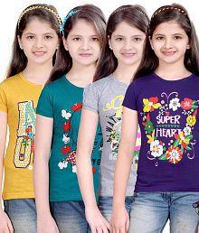 Sinimini Printed Round Neck T-shirts- Set of 4