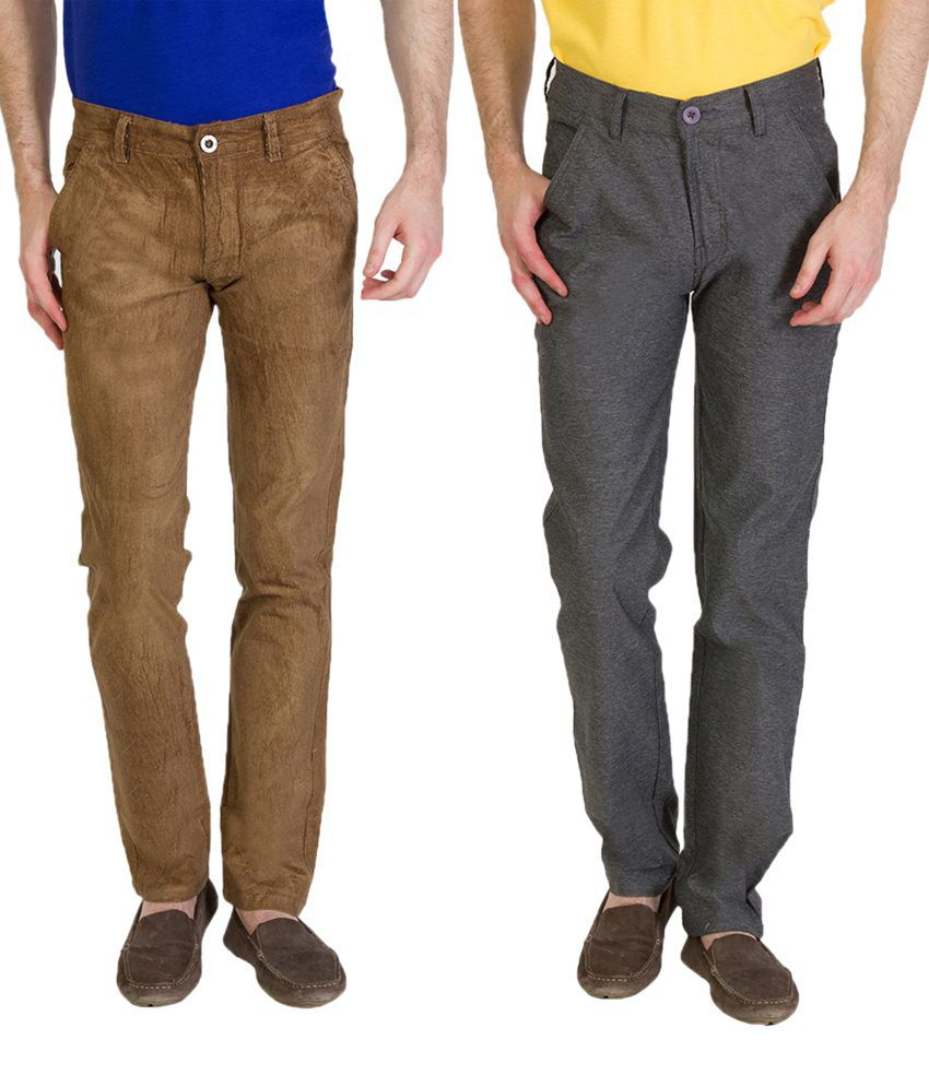 Bloos Jeans Striking Combo Of 2 Gray & Brown Chinos For Men