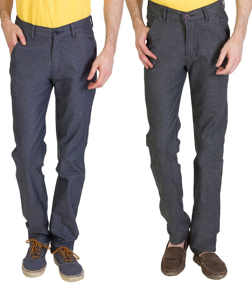 Bloos Jeans Trendy Combo Of 2 Brown & Gray Chinos For Men