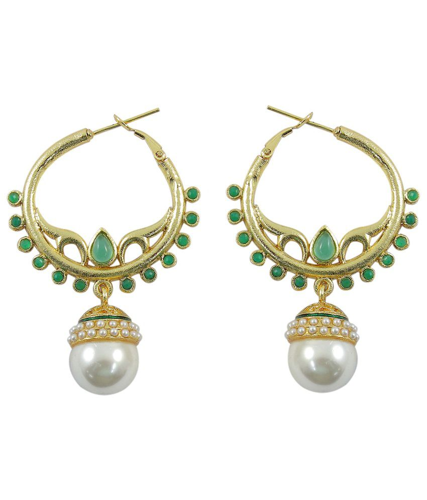 how much are earrings much more pearl wedding style green colour 6763