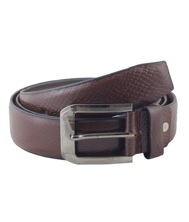 Shiven Good Quality Brown Formal Front Side Leather Belt With Snake Print