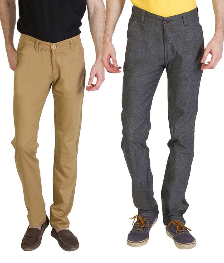 Bloos Jeans Classic Combo Of 2 Beige & Gray Chinos For Men