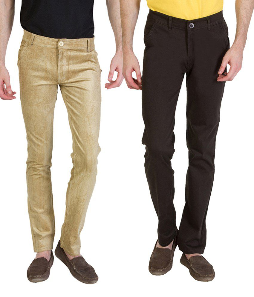 Bloos Jeans Combo Of 2 Khaki & Dark Brown Casual Chinos For Men
