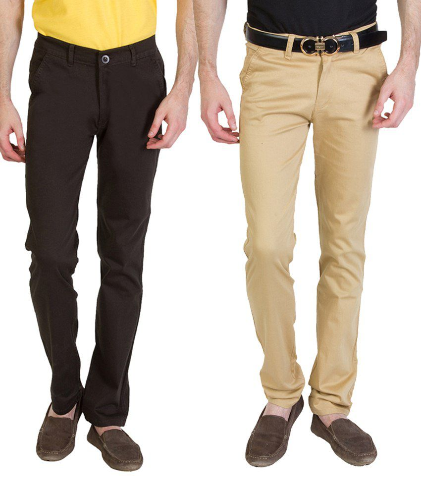 Bloos Jeans Combo Of 2 Brown & Dark Brown Casual Chinos For Men