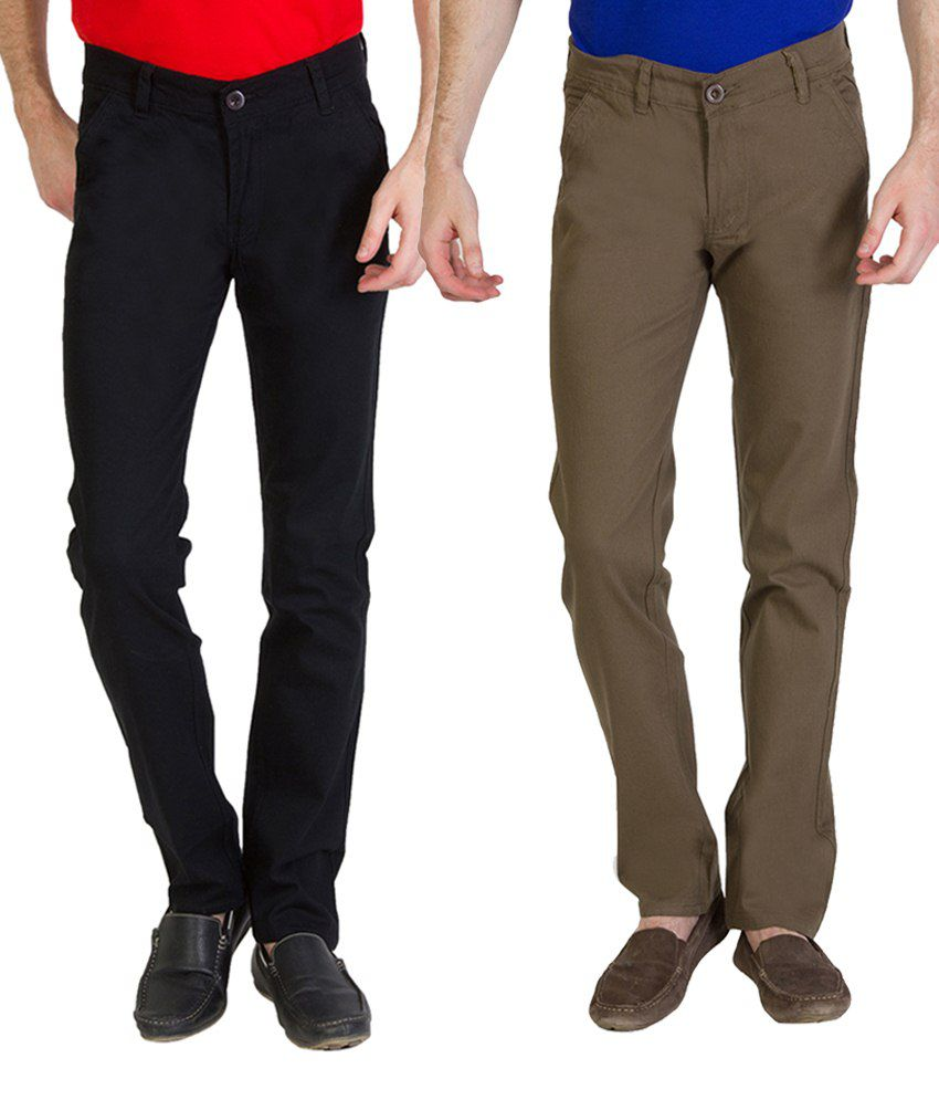 Bloos Jeans Combo Of Beige Trousers & Gray Chinos For Men