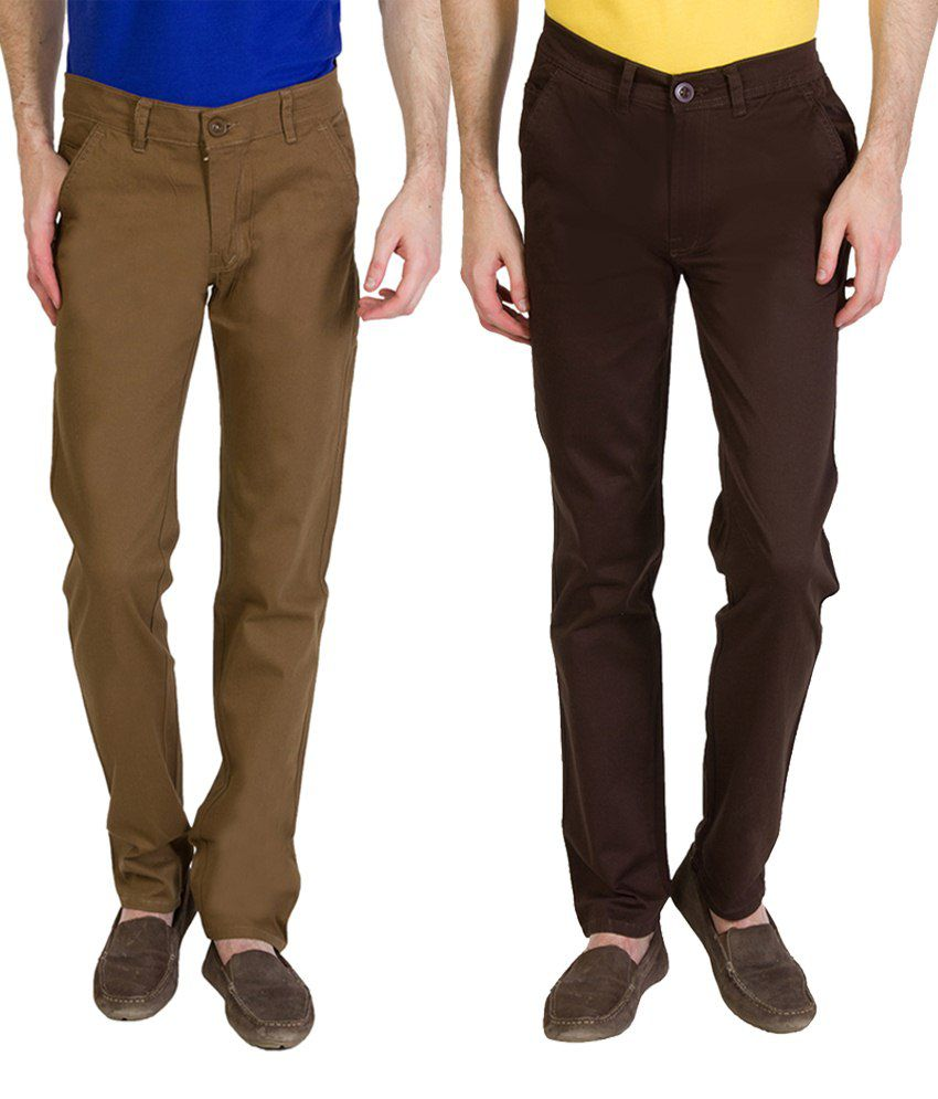 Bloos Jeans Combo Of Beige Chinos & Black Trousers For Men