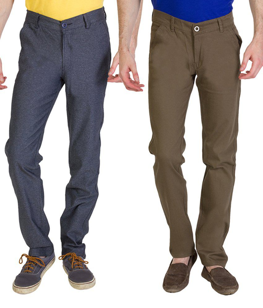 Bloos Jeans Combo Of Khaki Chinos & Gray Trousers For Men