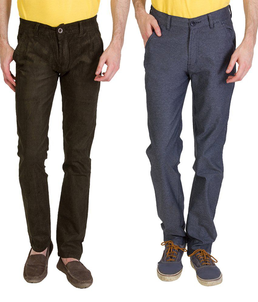 Bloos Jeans Cool Combo Of 2 Gray & Beige Chinos For Men